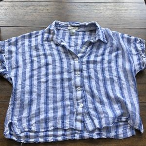 Striped button down tee